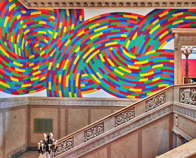 "Sol LeWitt, Wall Drawing #1131, ""Whirls and Twirls"" (detail), 2004, ink and paint on walls. Wadsworth Atheneum Museum of Art. The Ella Gallup Sumner and Mary Catlin Sumner Collection Fund."