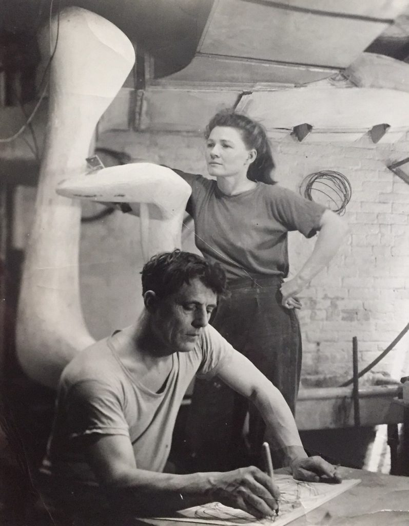 Stanley William Hayter with Helen Phillips in 1948 in their New-Yorker Studio, 737 Washington Street. All rights reserved.